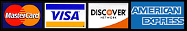 We accept Mastercard, Visa, and Discover Cards.